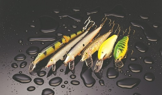 Several Rapala lures on a wet surface.