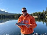 Angler Randal Clayton shows off one of a limit of rainbow trout caught at Horsethief Reservoir near Cascade
